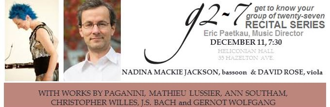 DECEMBER 11: g 2-7 Recital featuring Nadina Mackie Jackson and David Rose
